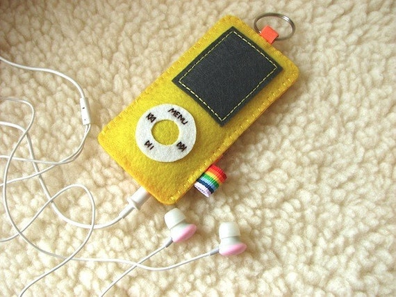Felt ipod nano case Cover Sleeve - Yellow