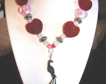 Valentine Red & Pink Hearts Necklace with jeweled bird pendant