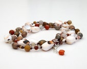 Red Lip Shell, Leopardskin Jasper and Multi-colored Agate wrap bracelet or necklace