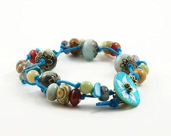 Soft Rainbow - colorful stone bead bracelet on turquoise cord