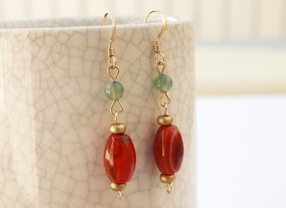 Red and green agate earrings