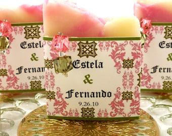 50 Vegan SOAP Favors ~ Bridal Shower ~ Wedding ~ Rose and Olive Pink Damask Labels or Your Own Custom Designs ~ Handmade in 7 days