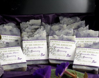 100 Event SOAP Favors scented in Lavendar with Olive Scroll Labels in Custom designs and Handmade ~ Wedding or Bridal  ~ Made in 7 days