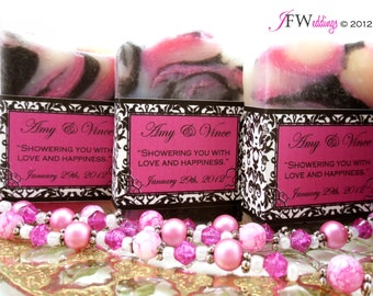 20 Vegan SOAP Favors | Hot Pink and Black scented in Berrylicious | Custom Labels | Bridal | Weddings | Cellophane bags | Made in 7 days