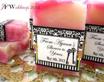 10 Bridal Shower Soap Favors scented in Pomegranate Mint with Damask labels in Custom Designs ~ Handmade ~ Made in 7 days