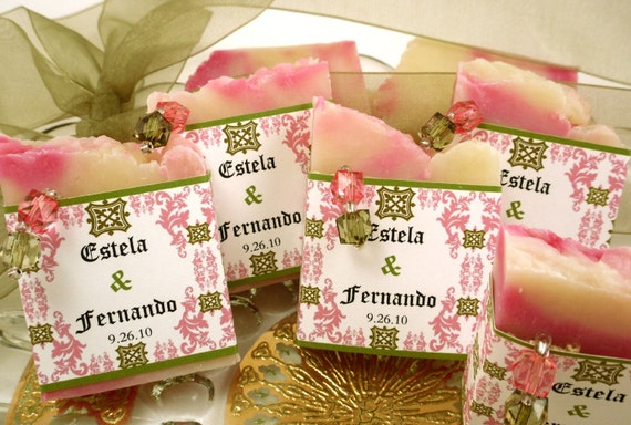 25 Vegan SOAP Favors ~ Bridal ~ Wedding ~ Scented in Roses and Olive Pink Damask Labels or Your Own Custom Designs ~ Handmade in 7 days