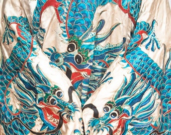 chinese Opera Robe 5 toed Dragon Vintage outerwear silk white blue 50 years old