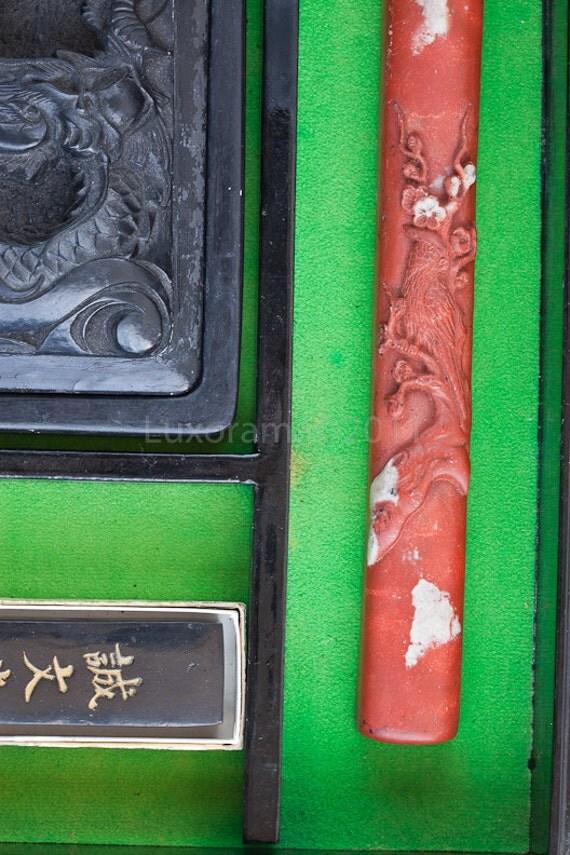 korean writing box calligraphy set ink stone dragon 1970 vintage