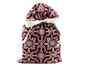 Elegant Ruby Red Cloth Gift Bag for Wedding, Anniversary or Bridal Shower