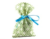 Small Cloth Gift Bag or Gift Card Holder Green and White