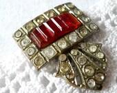Vintage Art Deco Dress Clip, Orange-Red, on Etsy