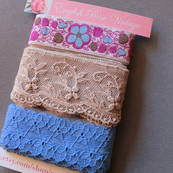 Vintage Trims in Blue, Beige and Flowers
