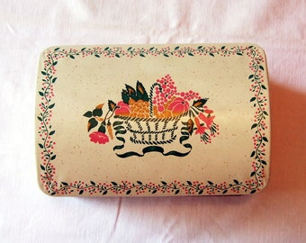 Vintage Rolfs Recipe Box - Fruit Basket Design - Made in England