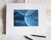 Original painting Monaco Blue Watercolor  OOAK  Moon planet - Astral Conjunction