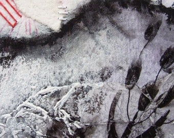 Original painting - abstract - Black and White ooak watercolor - Halloween -Towards the Mountain