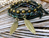 Multi stack Feather Bracelet 4 in 1 Stackable Set Gypsy Boho