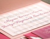 Sophisticated Stripe Modern Wedding Invitation shown in Hot Pink, Light Pink and White - Pocketfold, No Accent Layers - SAMPLE