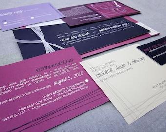 Modern Wedding Invitations, Purple Wedding Invitations, Modern Invitations, Contemporary, Pink Invites, Eggplant, Fuschia and Lilac - SAMPLE