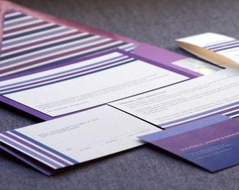 Modern Wedding Invitations, Purple Wedding Invitation, Eggplant, Fuschia & Lilac, Contemporary Triple Striped - Flat Panel, 1 Layer - SAMPLE