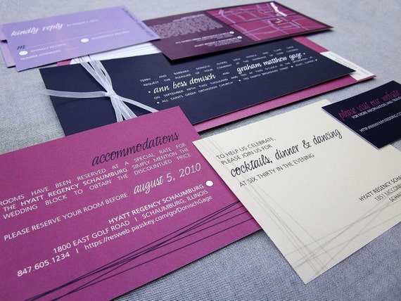 Modern Wedding Invitations, Purple Wedding Invitations, Modern Invitations, Contemporary, Pink Invites, Eggplant, Fuschia and Lilac - SAMPLE