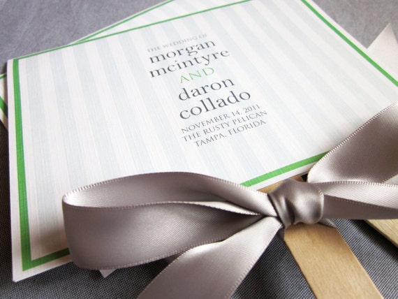 Stripes and Ribbon Custom Fan Wedding Program Shown in Kelly Green, Silver and White - DEPOSIT