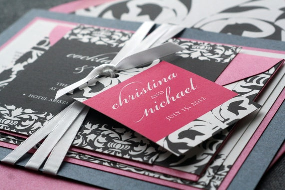 "Classic Wedding Invitation shown in Hot Pink, Charcoal and White - ""Elegant Damask"" Flat Panel, 2 Layers, v1 - SAMPLE"