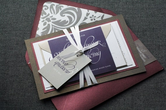 Dramatic Script Modern Wedding Invitation shown in Eggplant, Grey and White, Build-Your-Invite Collection - DEPOSIT