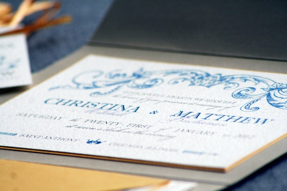 Romantic French Country Vintage Wedding Invitation shown in Light Blue, Gold and Cream, Build-Your-Invite Collection - DEPOSIT