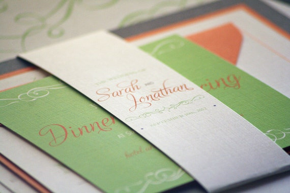 Vintage Wedding Invitation, Retro Wedding Invitations, Orange, Lime Green & Grey, Enchanting Vintage - Flat Panel, 2 Layers, v1 - DEPOSIT