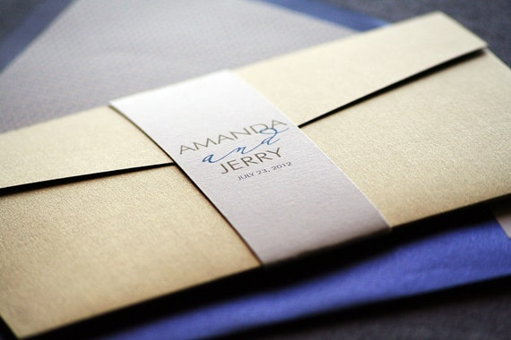 Modern Calligraphy Wedding Invitation shown in Sapphire Blue, Gold, Grey and Cream, Build-Your-Invite Collection - DEPOSIT