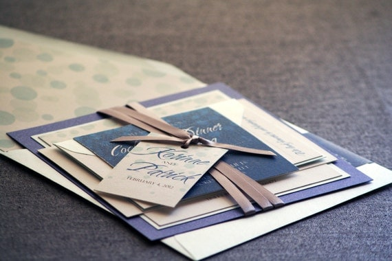 Winter Wedding Invitations, Dotted Invitations, Blue Wedding Invitations, Silver, Sapphire, Delicate Dotted - Flat Panel, 2 Layers - DEPOSIT