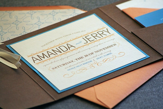 Whimsical Flourish Vintage Wedding Invitation shown in Orange, Blue, Brown and Cream, Build-Your-Invite Collection - DEPOSIT