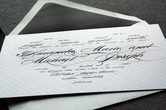 "Black and White Invitations, Black Tie Wedding Invitation, Luxury Black and White - ""Modern Love"" Flat Panel, No Layers, v1 - SAMPLE"