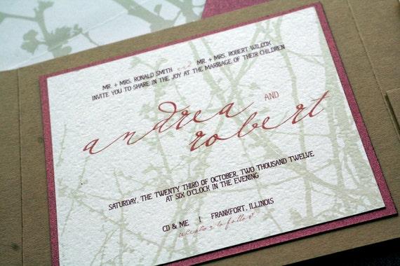 "Rustic Wedding Invitation, Boho Chic Wedding, Khaki, Burgundy & Gold Wedding Invitations - ""Woodland Chic"" Pocketfold, 1 Layer - SAMPLE"