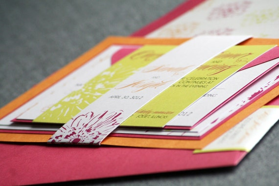 Orange And Green Wedding Invitations: Hot Pink Orange And Lime Green Invites Modern By