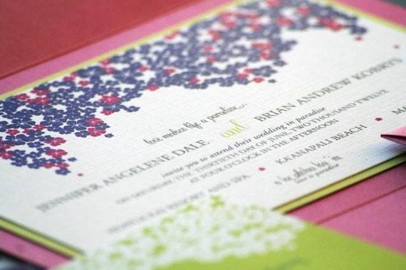 "Tropical Wedding Invitations, Summer Wedding, Beach Weddings, Hot Pink, Purple & Lime - ""Cascading Hibiscus"" Pocketfold, 1 Layer - SAMPLE"