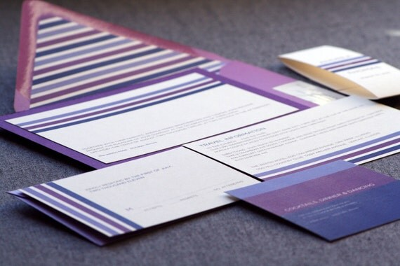 "Modern Wedding Invitations, Eggplant and Purple Invites, Fuschia & Lilac - ""Contemporary Triple Striped"" Flat Panel, 1 Layer - SAMPLE"