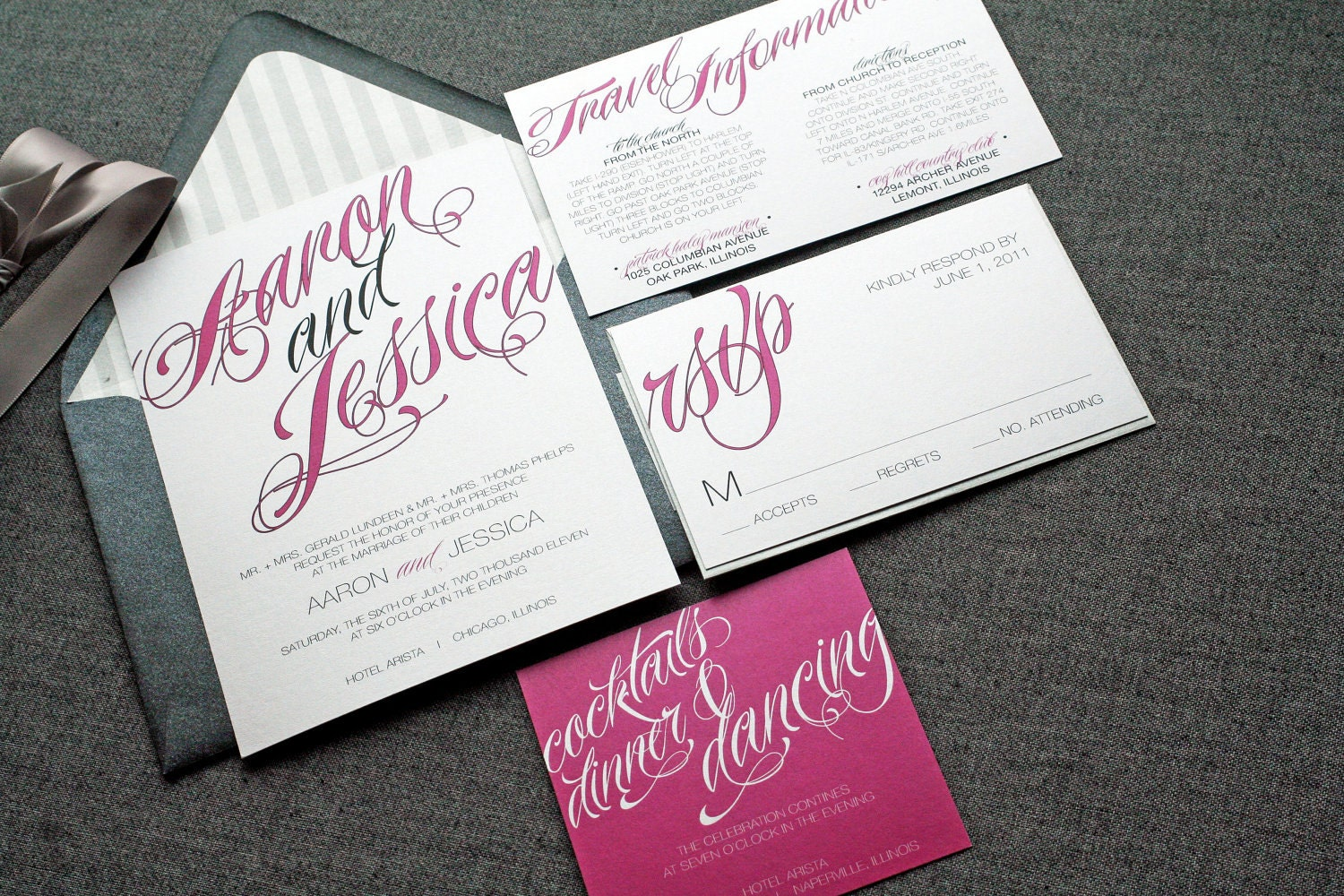 Contemporary Wedding Invitations: Sweeping Script Modern Wedding Invitation By JulieHananDesign