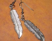 Pewter Feather Earrings -They dangle