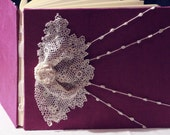 Wedding Guest Book, Irish Crochet Lace, Personalize, Handmade, Wedding Sign in Book, Ready to ship, ArtByChapin