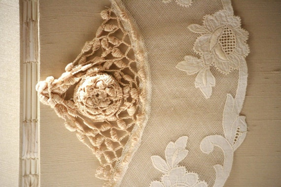 OOAK Guest Book - Champagne Gold Lace Wedding Guest Book, Embroidered Lace on Net, Personalize, Handmade