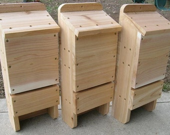 Three Chamber Western Red Cedar Bat House, 3 Pack