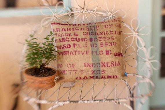 Upcycled Sumatra Burlap Pillow