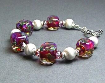 Gorgeous Fuchsia Boro Glass & Sterling Silver Bracelet - BM25