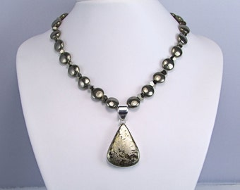 Stunning Gold Pyrite & Sterling Silver Necklace - N380