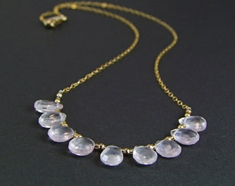Palest Pink Rose Quartz Necklace - N395