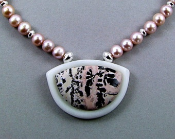 Pink Intarsia Saddle Necklace with Freshwater Pearls - N426