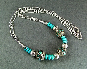 Stunning Turquoise, Silver & Bronze Handcrafted Necklace - N450