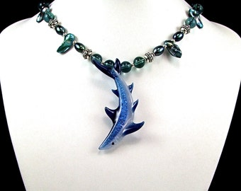 OOAK Blue Boro Glass Shark Statement Necklace - N213A