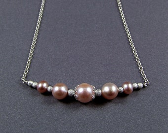 Freshwater Pearl & Sterling Silver Micro Necklace - N504